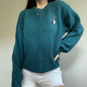 Vintage Isle Of Cotton Made In USA Teal Sweater